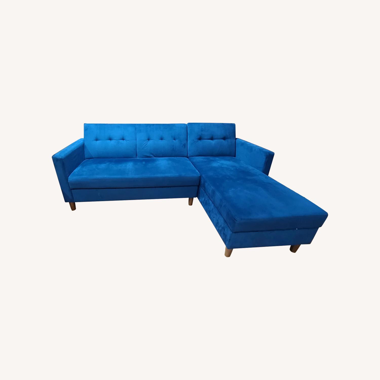 Wayfair Blue Reversible Sleeper Storage Sectional - image-0