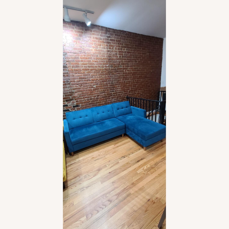 Wayfair Blue Reversible Sleeper Storage Sectional - image-2