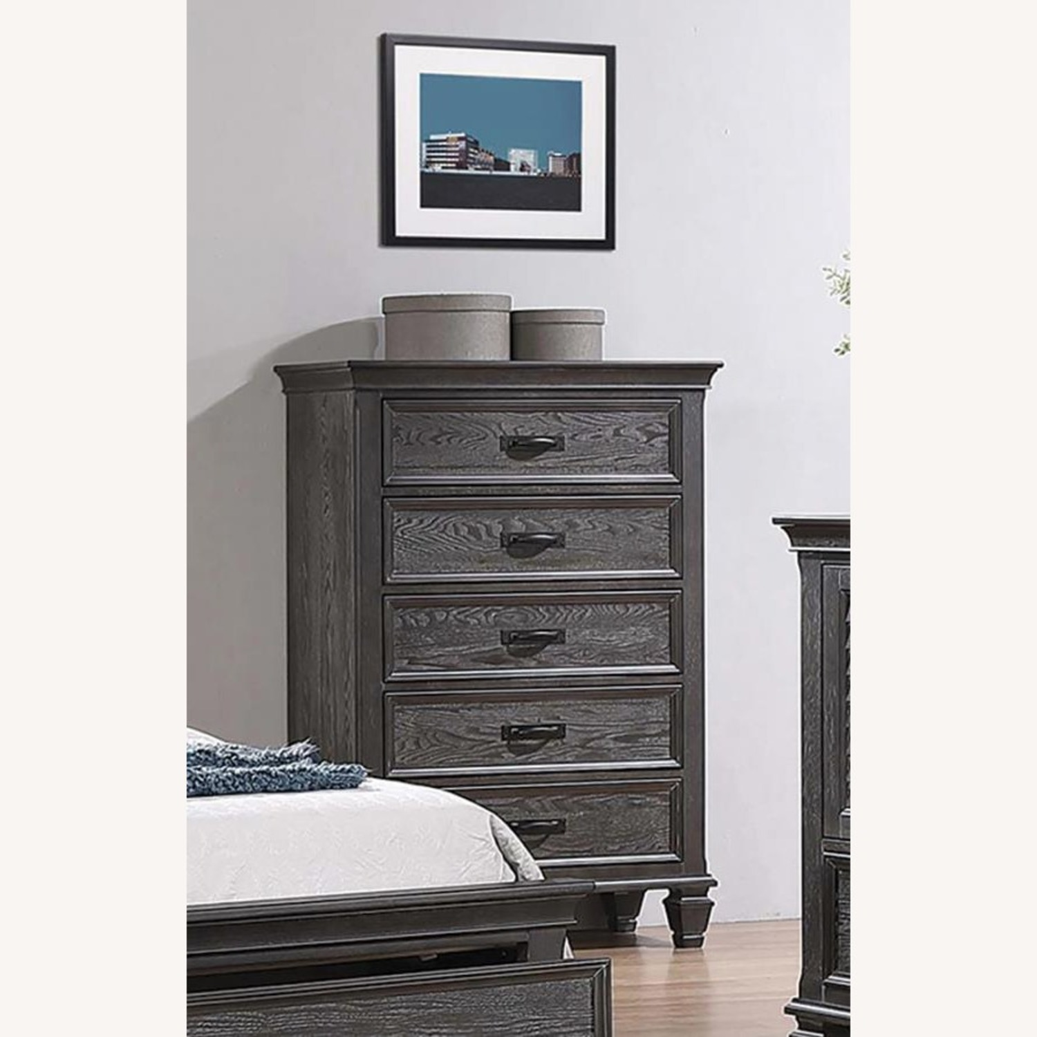 5-Drawer Chest In Weathered Sage Finish - image-1