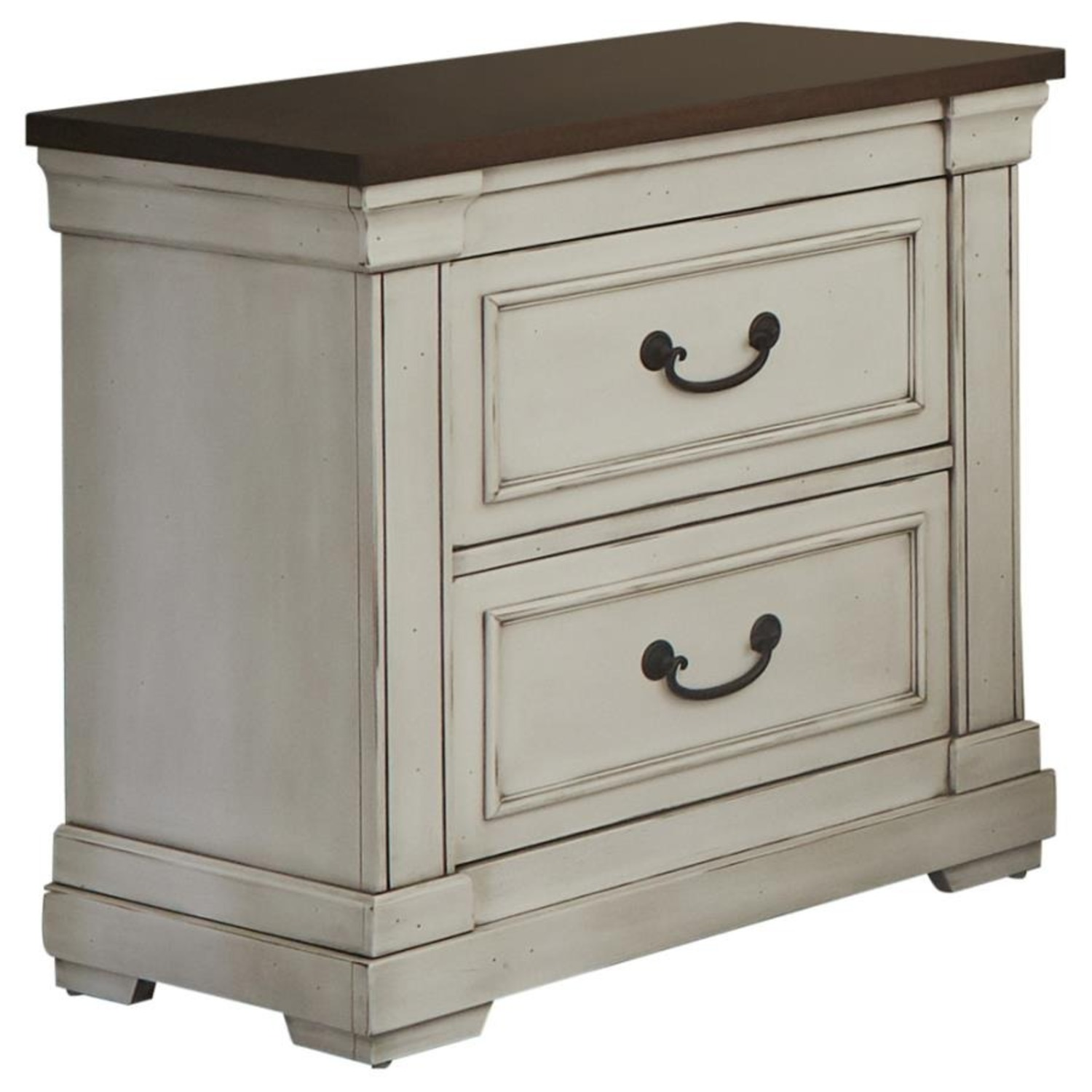 Nightstand W/ 2 Drawers In Dark Rum Finish - image-1