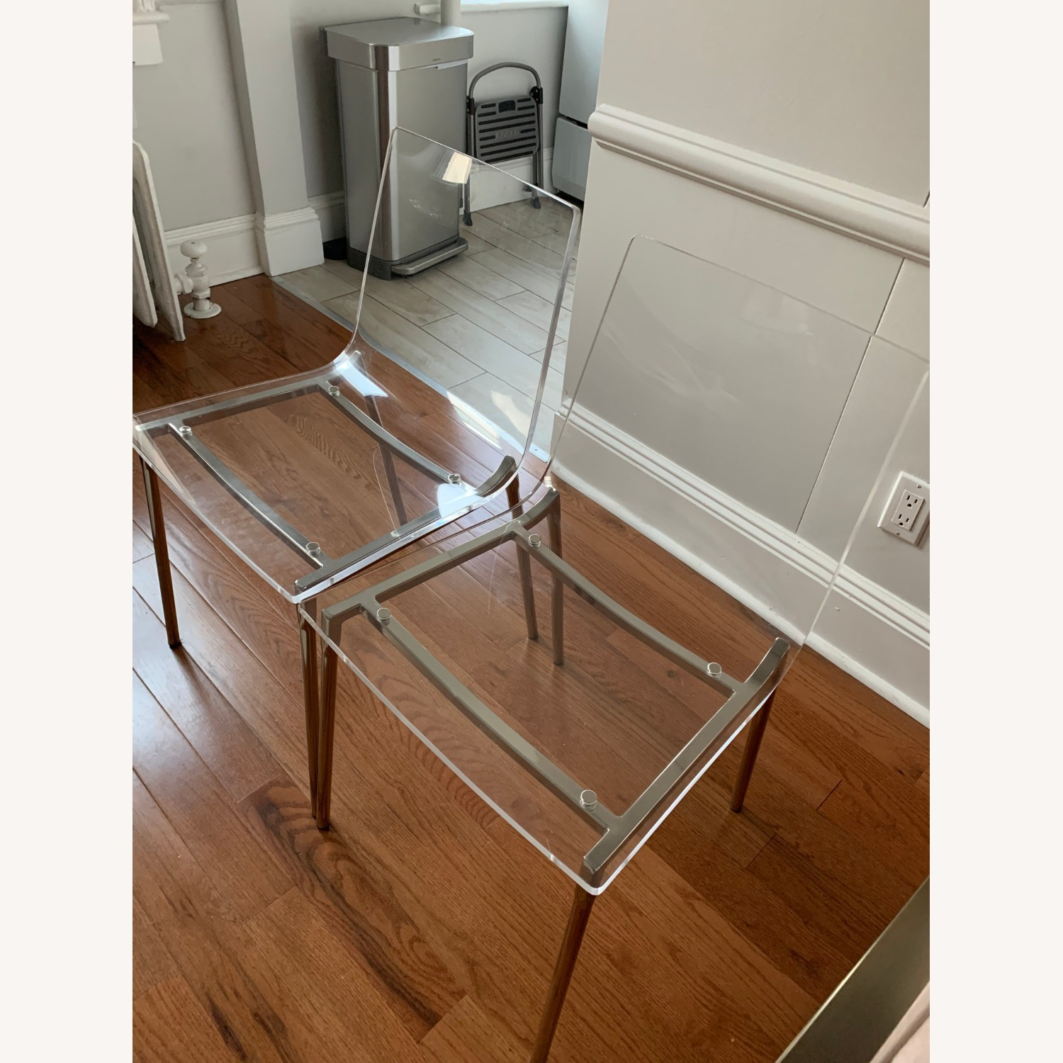 Cb2 Chiaro Clear Chair Nickel - image-3
