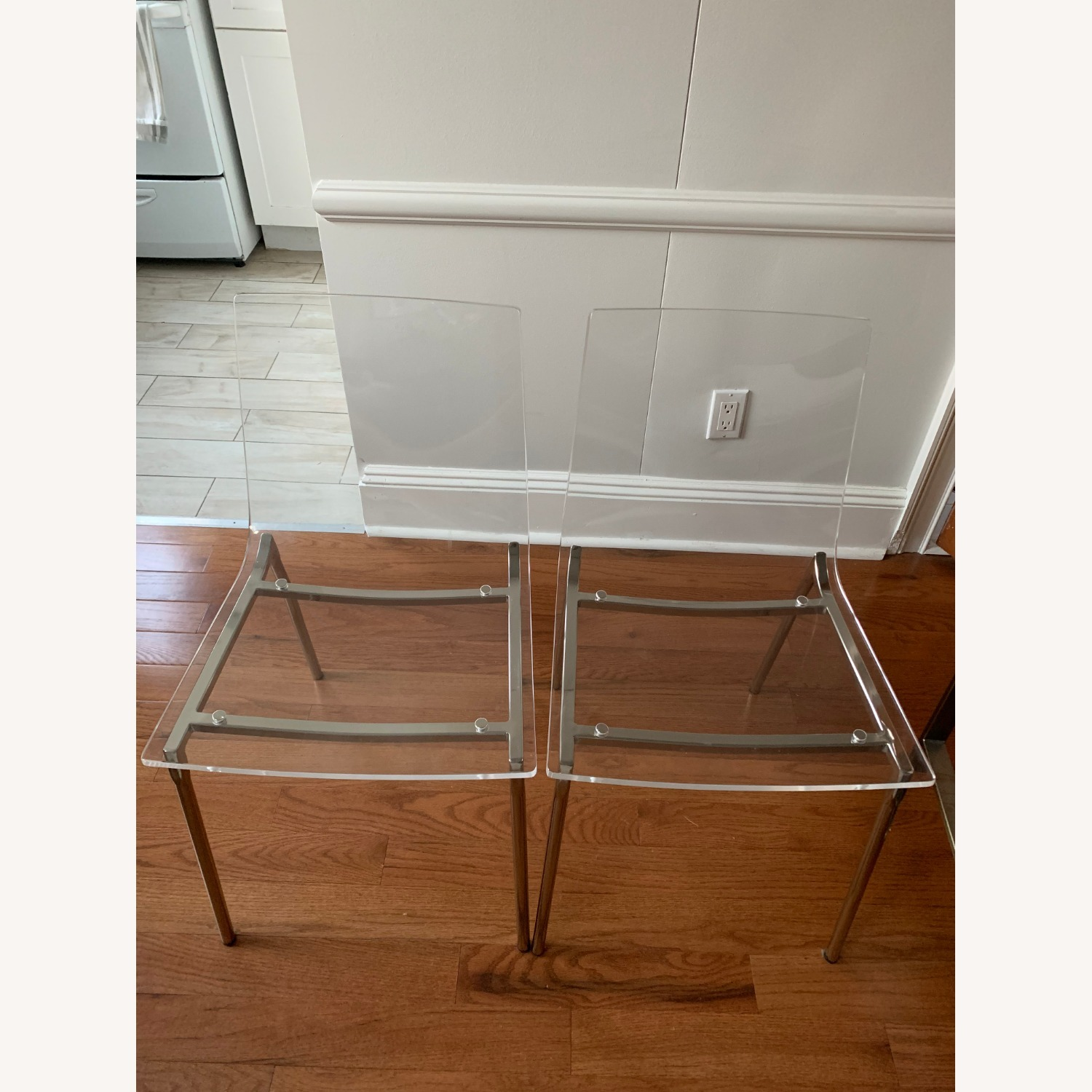 Cb2 Chiaro Clear Chair Nickel - image-1