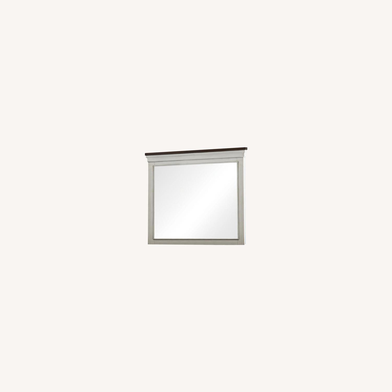 Mirror In Two-Tone Dark Rum & White Finish - image-3