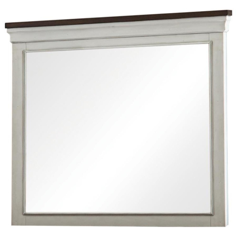 Mirror In Two-Tone Dark Rum & White Finish - image-1