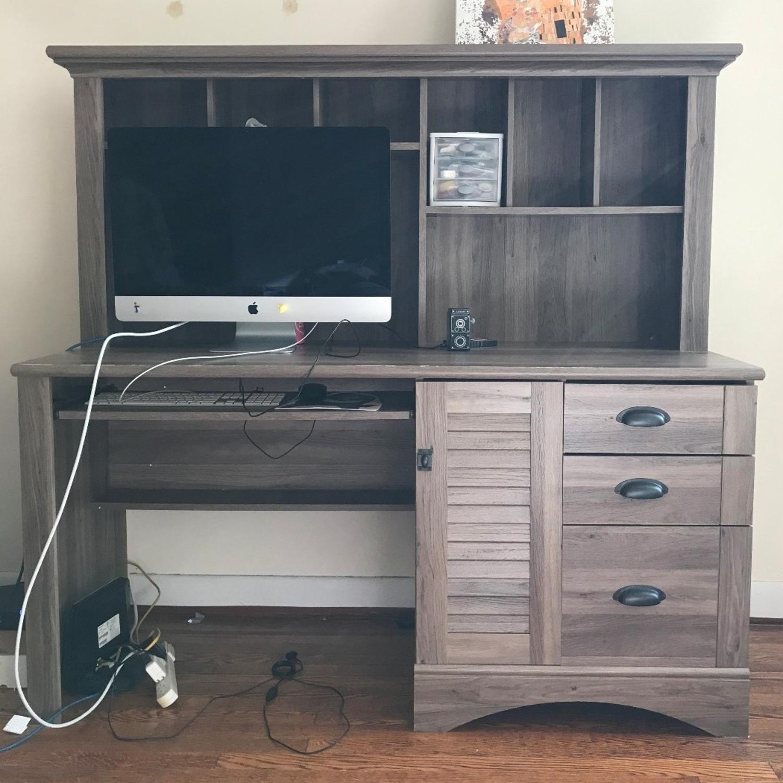 Wayfair Desk with Hutch - Salt Oak color - image-3