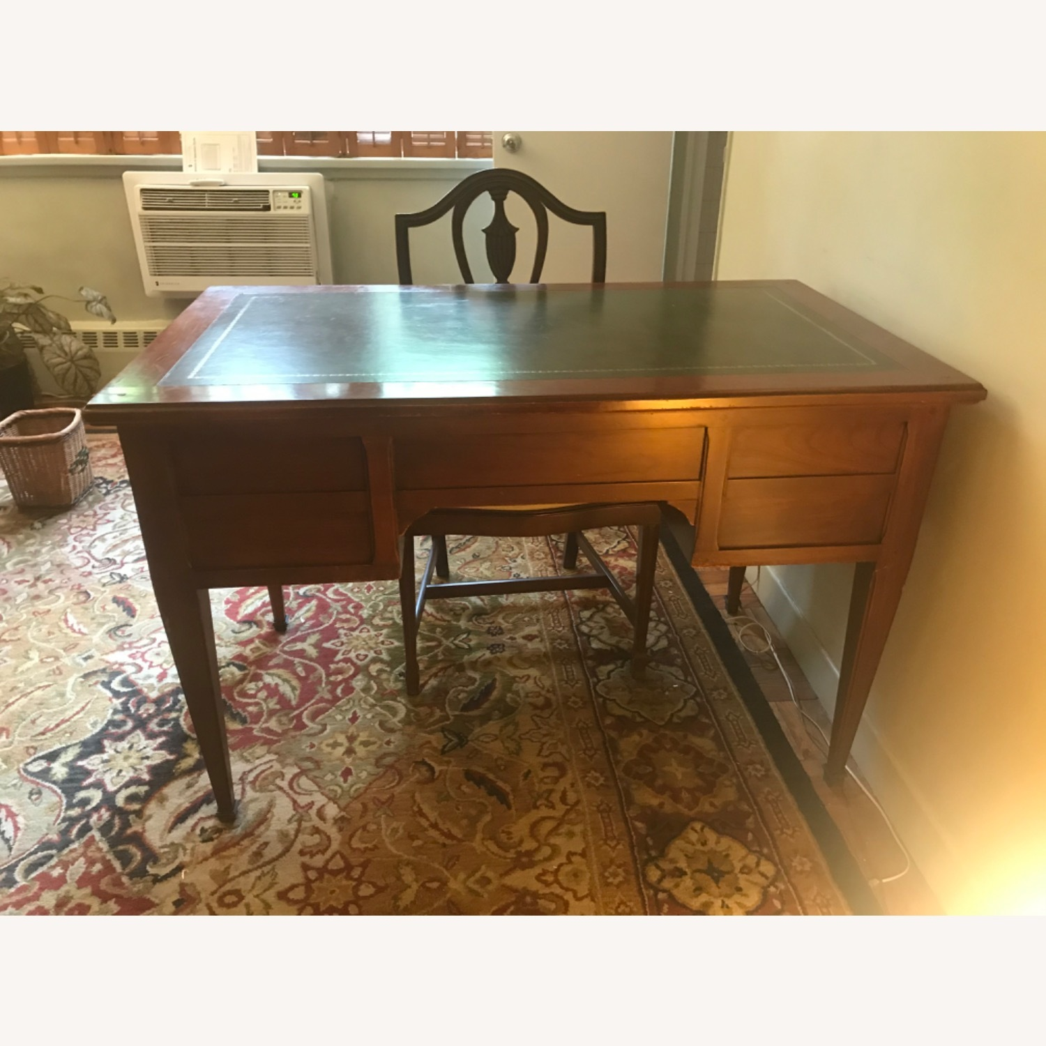 Leather Topped Desk with Chair, Drawer Locks - image-1