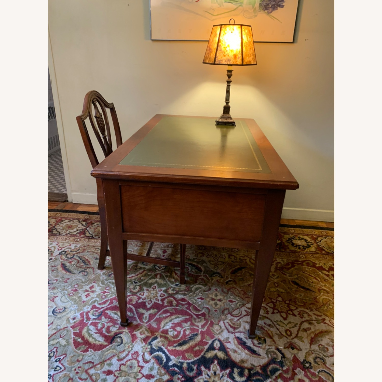 Leather Topped Desk with Chair, Drawer Locks - image-0