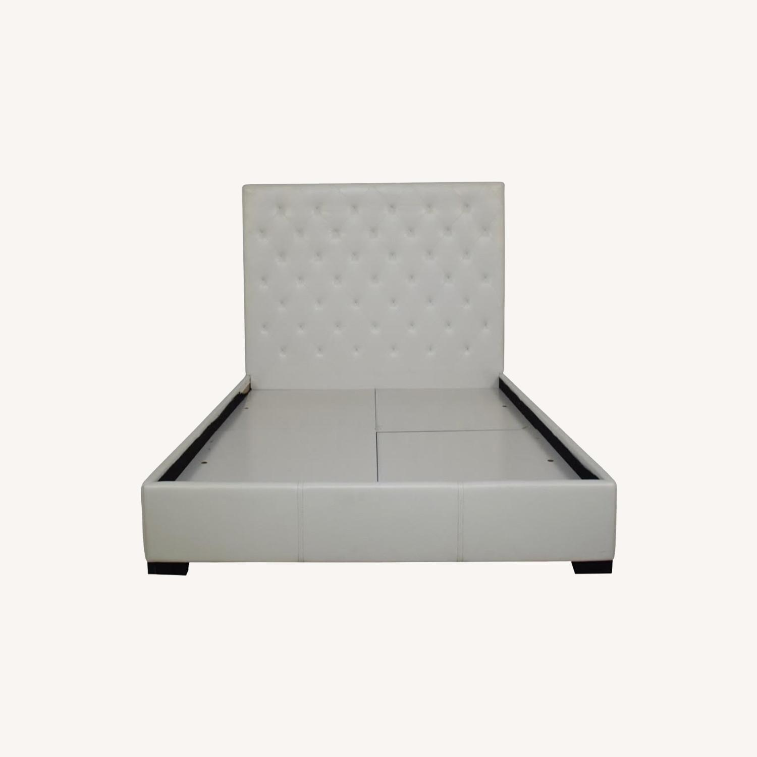 Modani Queen White Leather Headboard and Frame - image-0