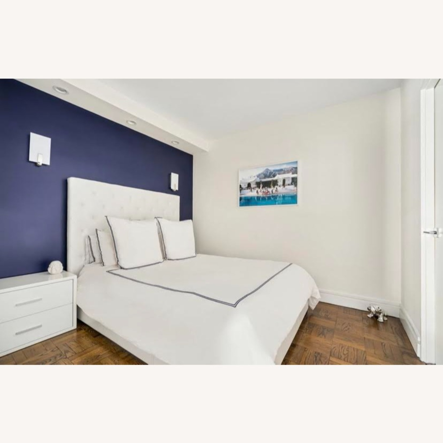 Modani Queen White Leather Headboard and Frame - image-1