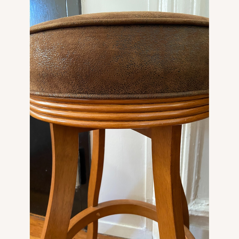 Vintage Wood/suede Stools - image-4