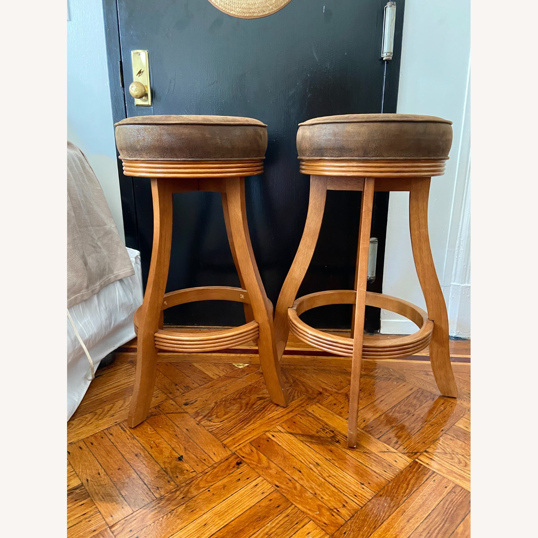 Vintage Wood/suede Stools - image-1