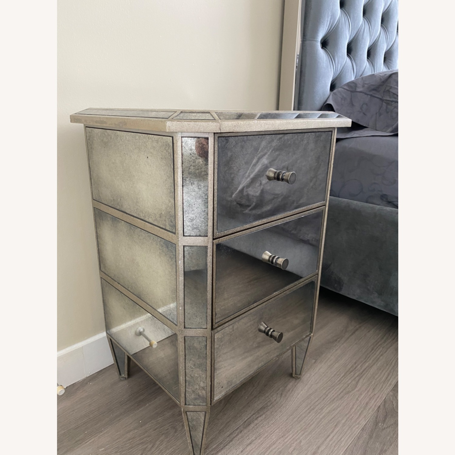 Restoration Hardware Ava Mirrored 3 Drawer Nightstand Aptdeco