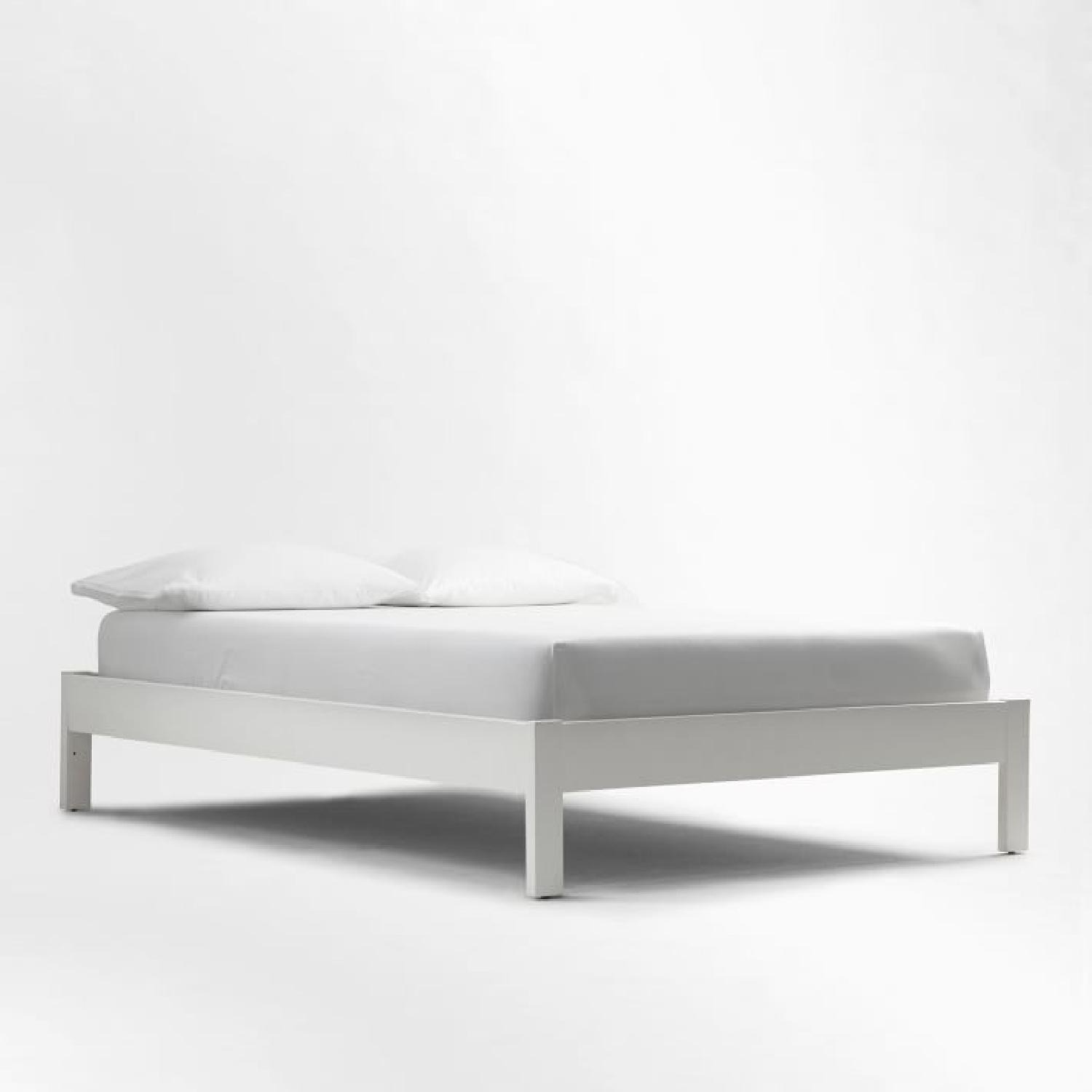 West Elm Simple Bed Frame - Full - White Lacquer - image-0