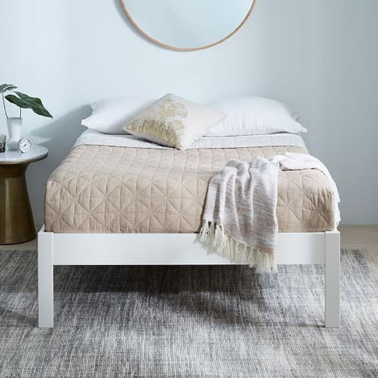 West Elm Simple Bed Frame - Full - White Lacquer - image-1