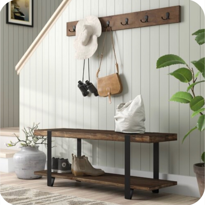 Wayfair Hall Tree Bench with Hooks - image-0