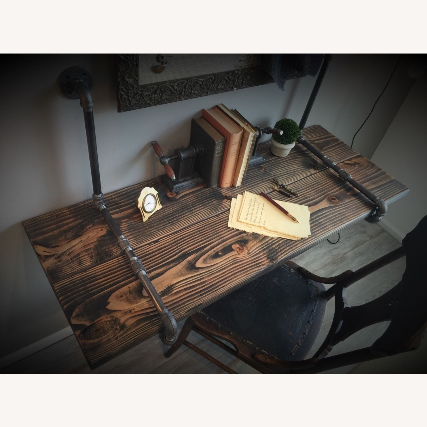 Industrial Desk with Real Pipes - image-3