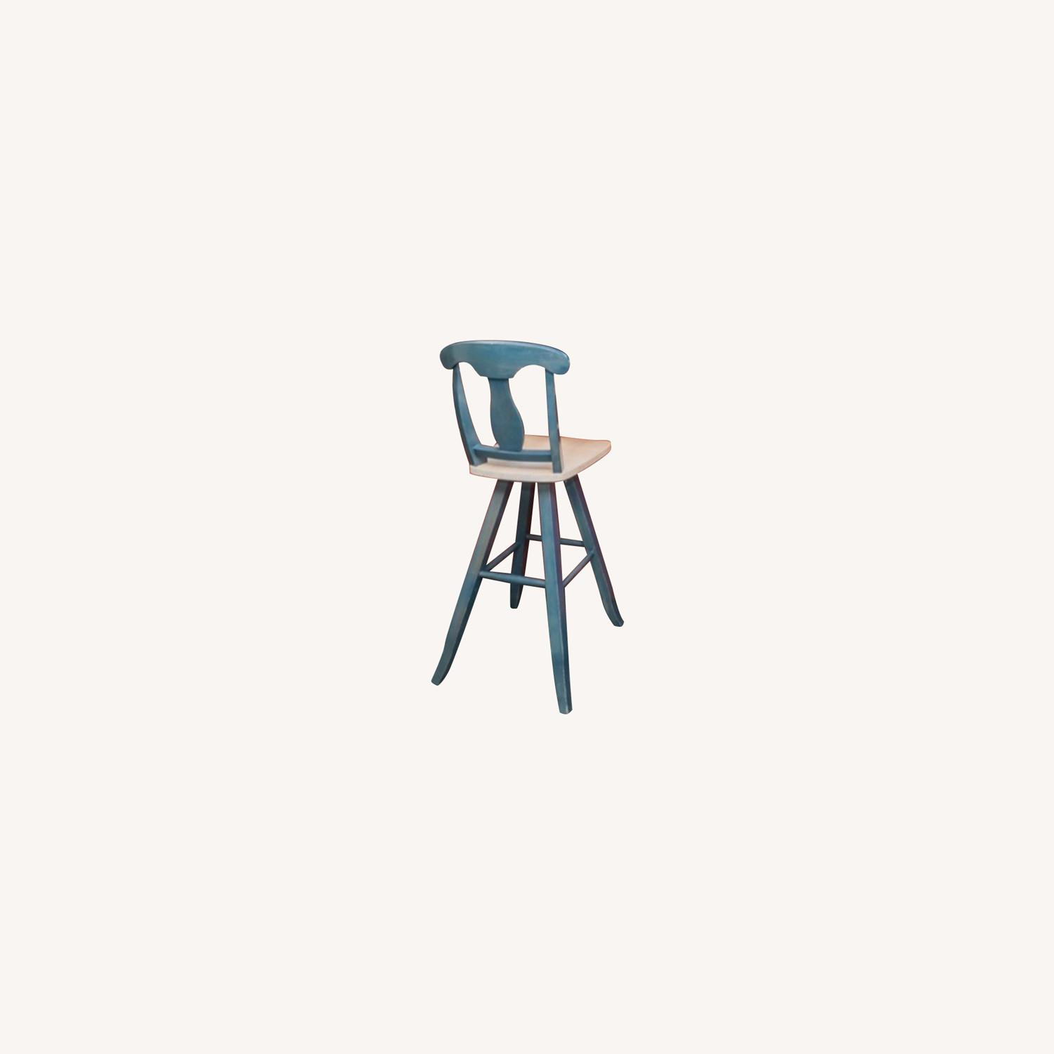 4 Blue Canadel Wooden Swivel Bar Counter Stools - image-0