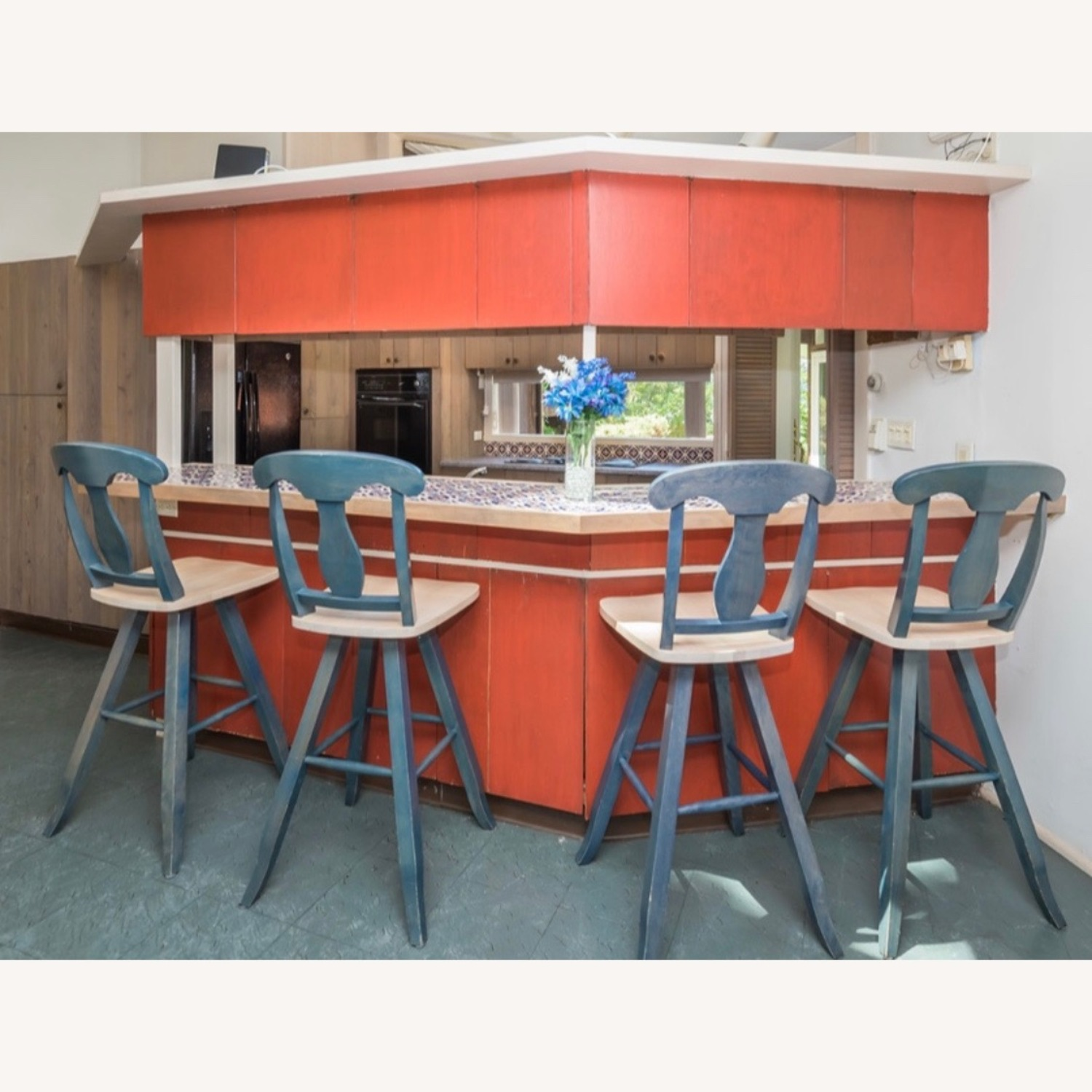 4 Blue Canadel Wooden Swivel Bar Counter Stools - image-1