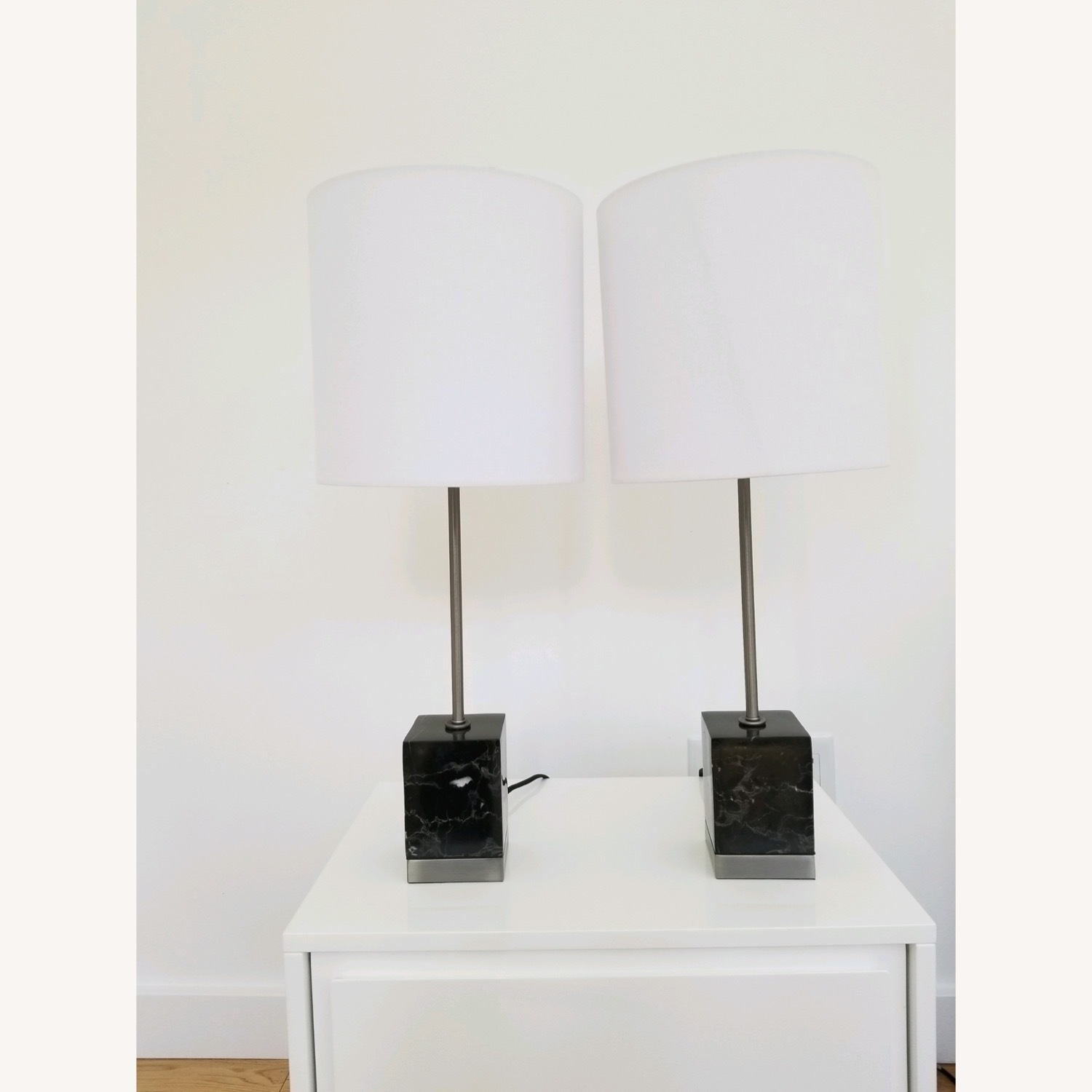 CB2 Sharp Black Marble Table Lamps - image-1