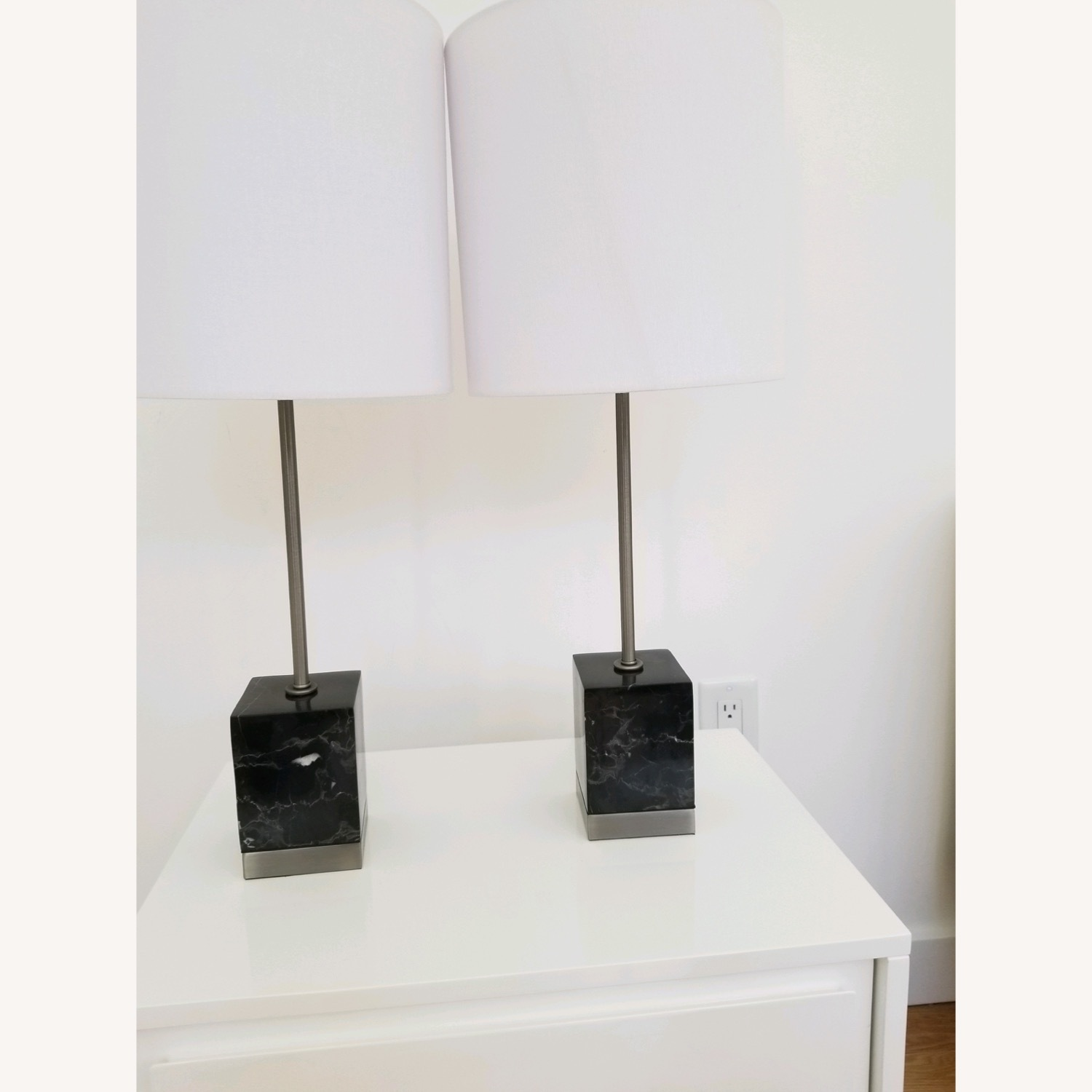 CB2 Sharp Black Marble Table Lamps - image-2
