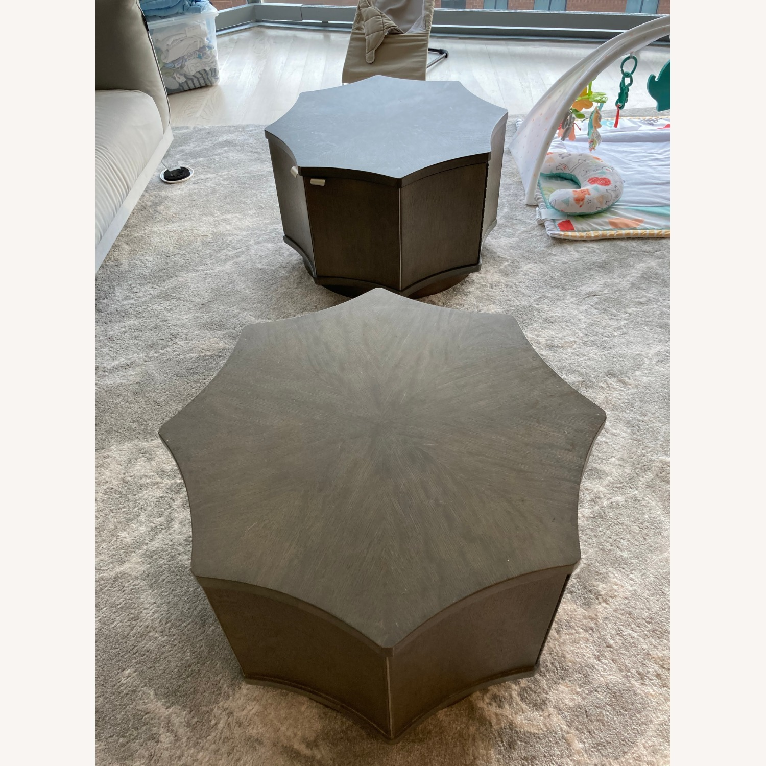 Two Octagonal Storage Coffee Tables - image-1