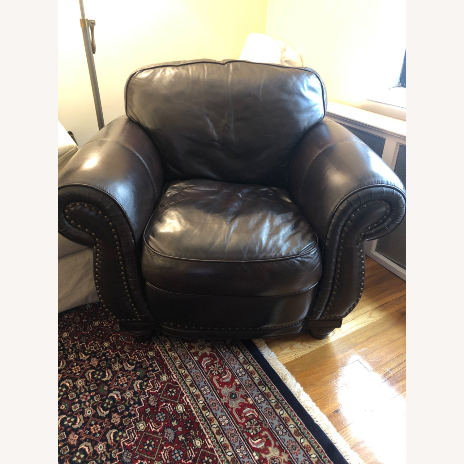 Macy's Chocolate Brown Leather Club Chair - image-1