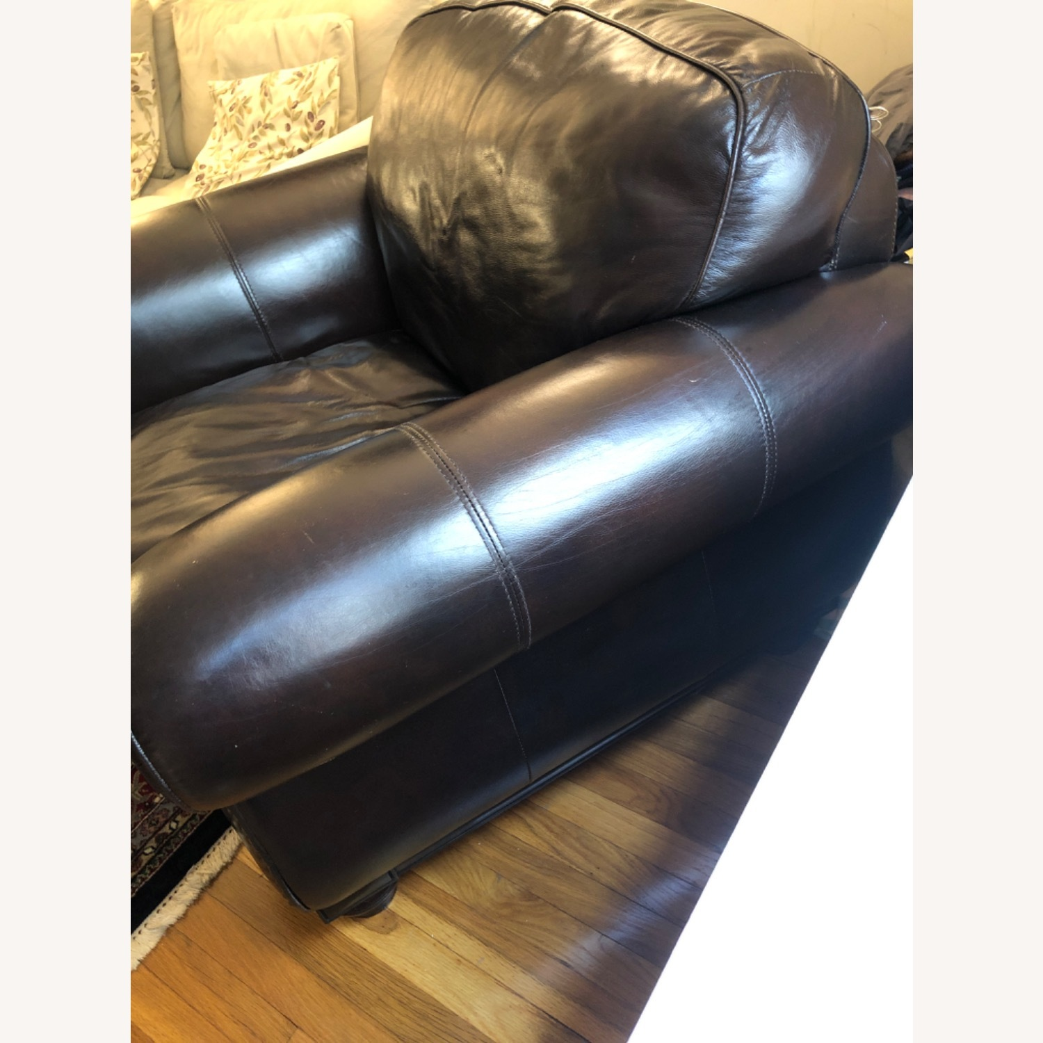 Macy's Chocolate Brown Leather Club Chair - image-3