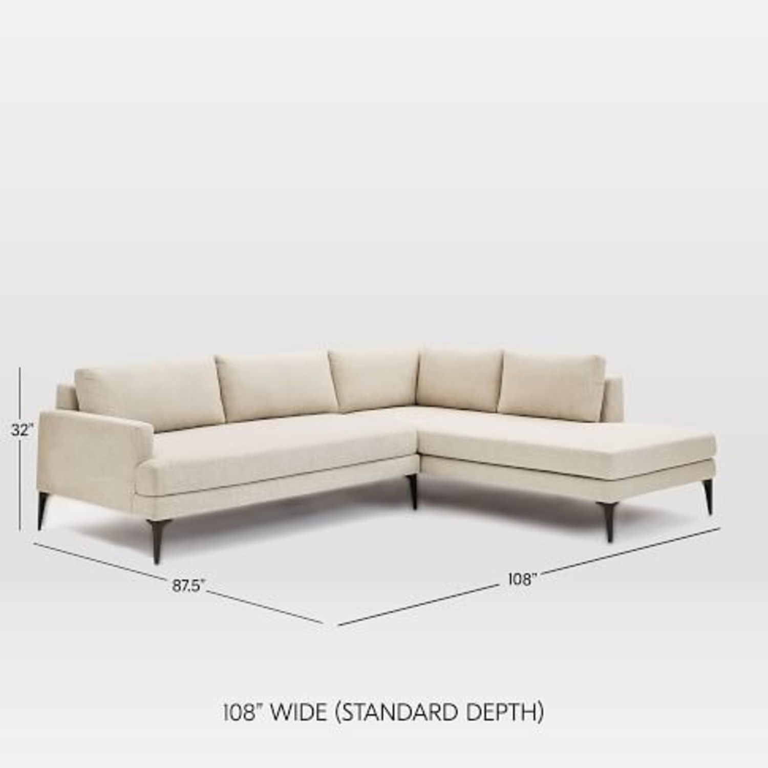 West Elm Grey Andes Right 2-Piece Chaise Sectional - image-3