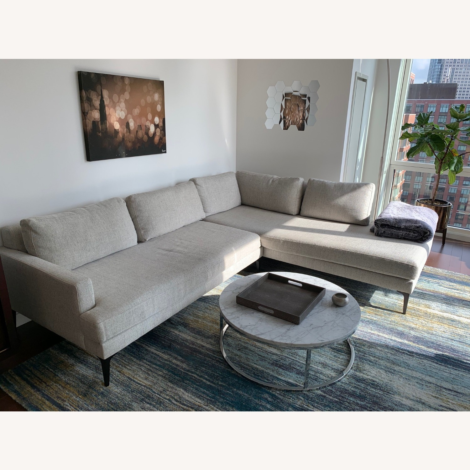 West Elm Grey Andes Right 2-Piece Chaise Sectional - image-1