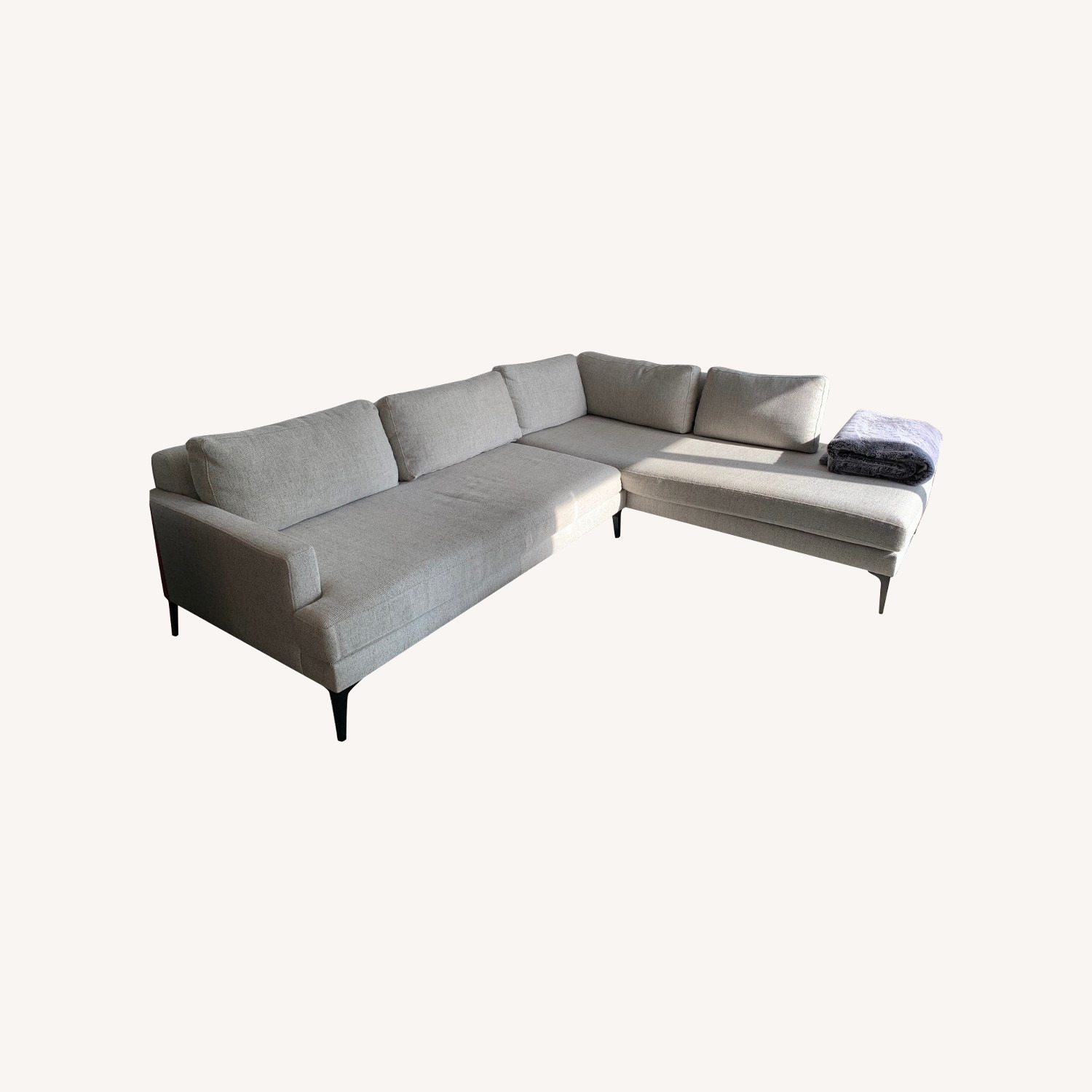 West Elm Grey Andes Right 2-Piece Chaise Sectional - image-0