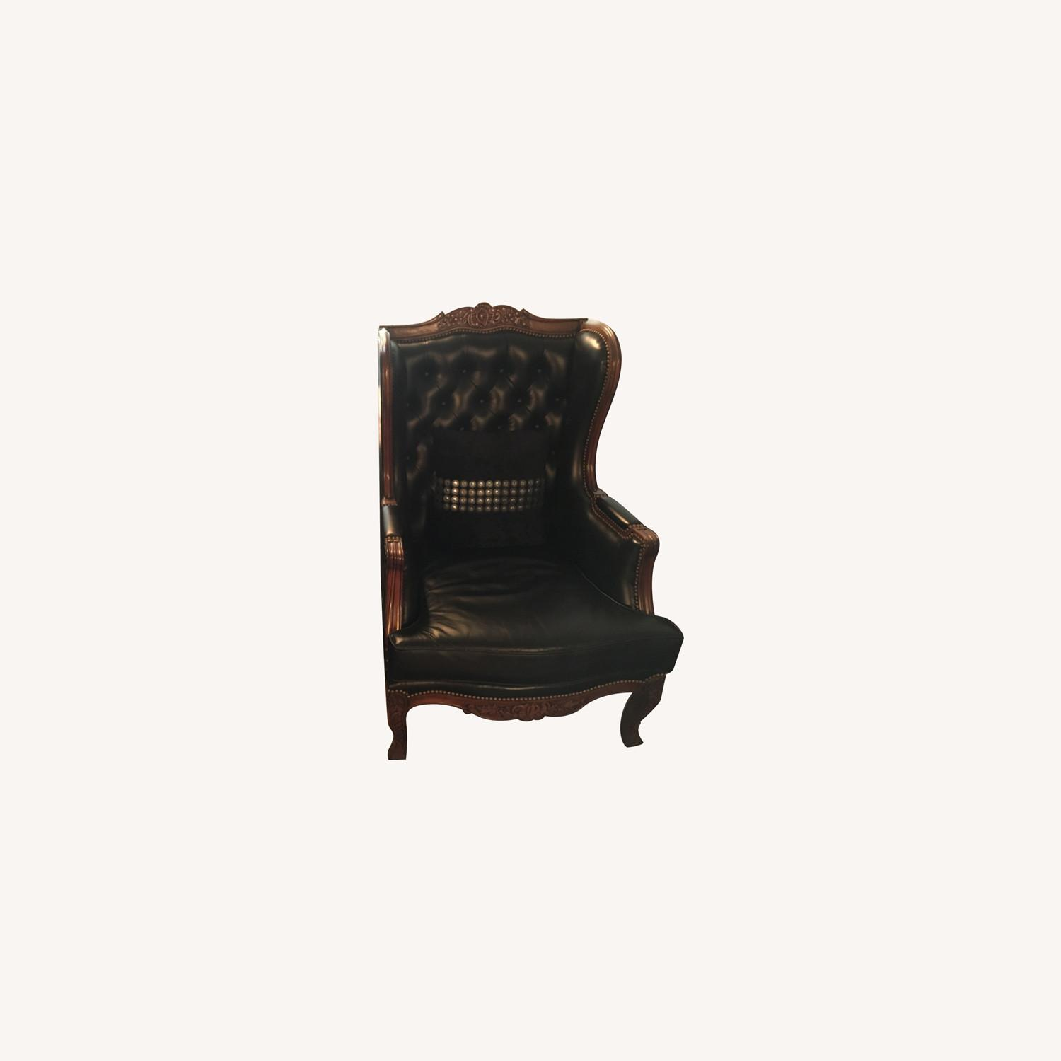 Classic Leather Wingback Chair Set - image-0