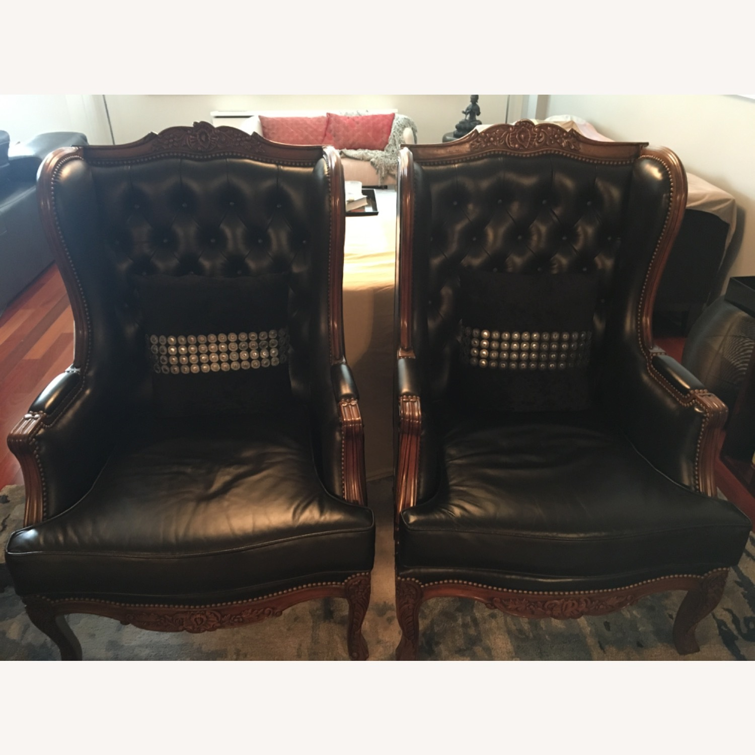 Classic Leather Wingback Chair Set - image-2