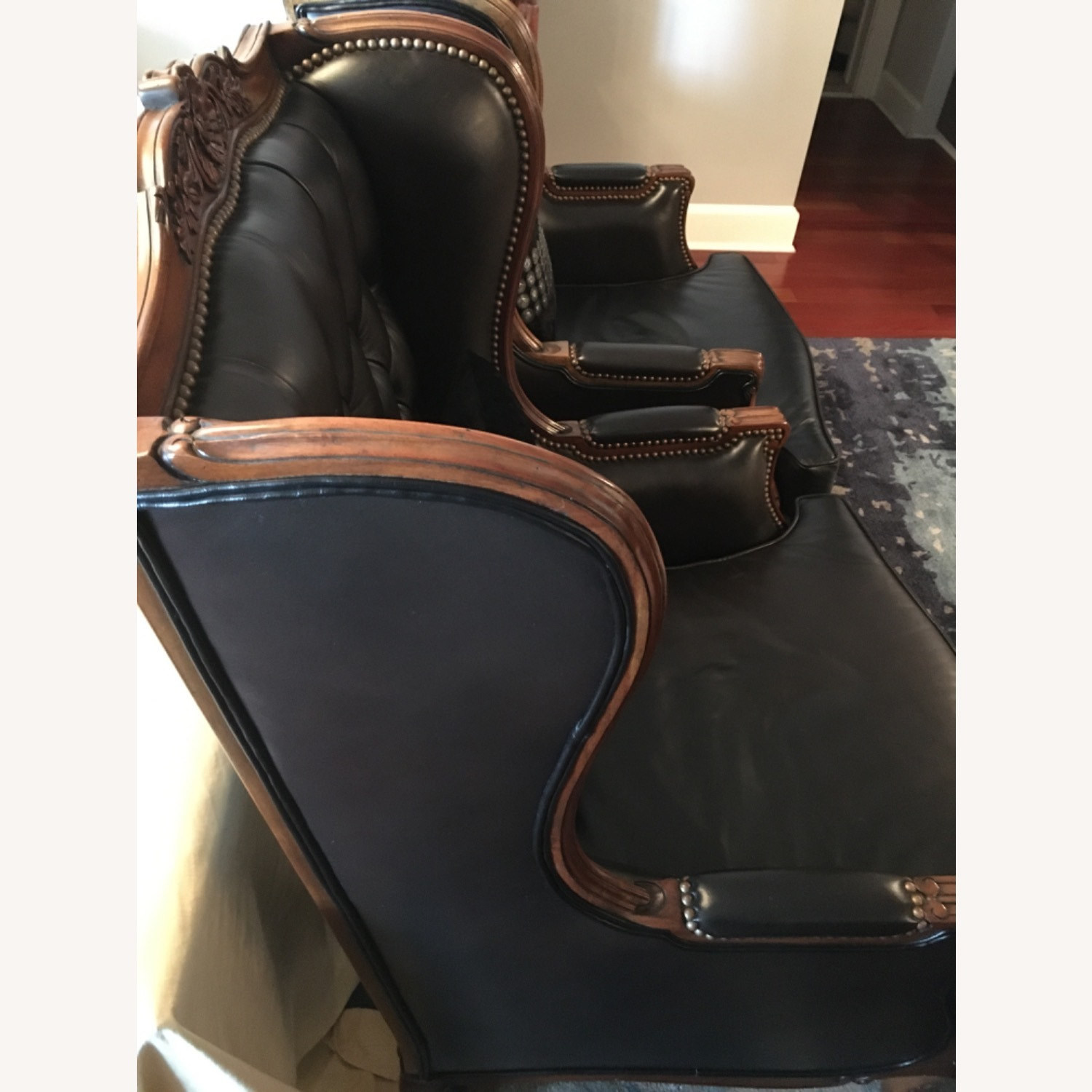 Classic Leather Wingback Chair Set - image-3
