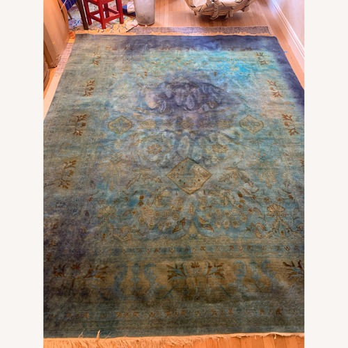 Used ABC Carpet and Home Agra Overdyed 100% Wool Pile Blue Rug for sale on AptDeco