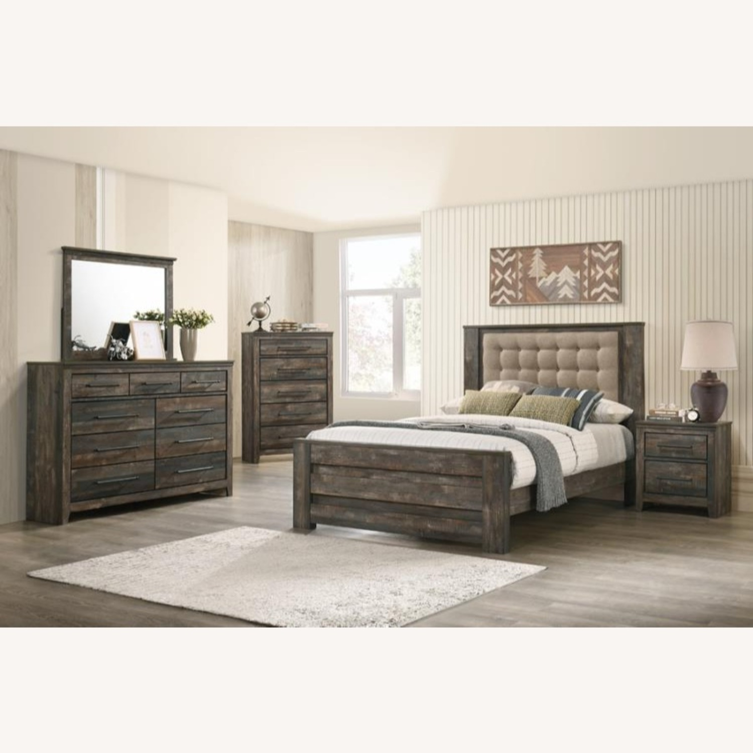 Rustic Style Queen Bed In Weathered Dark Brown - image-3