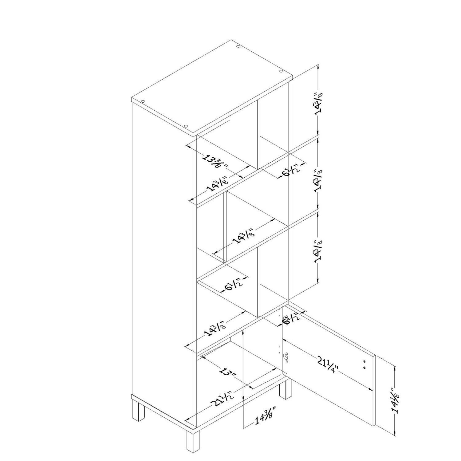 South Shore Expoz 6-Cube Shelving Unit With Door - image-4