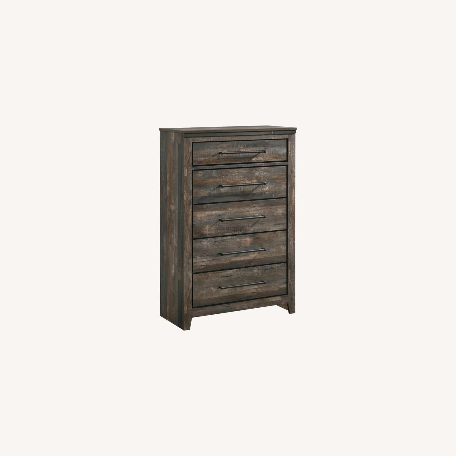 Chest W/ 5 Drawers In Weathered Dark Brown - image-3
