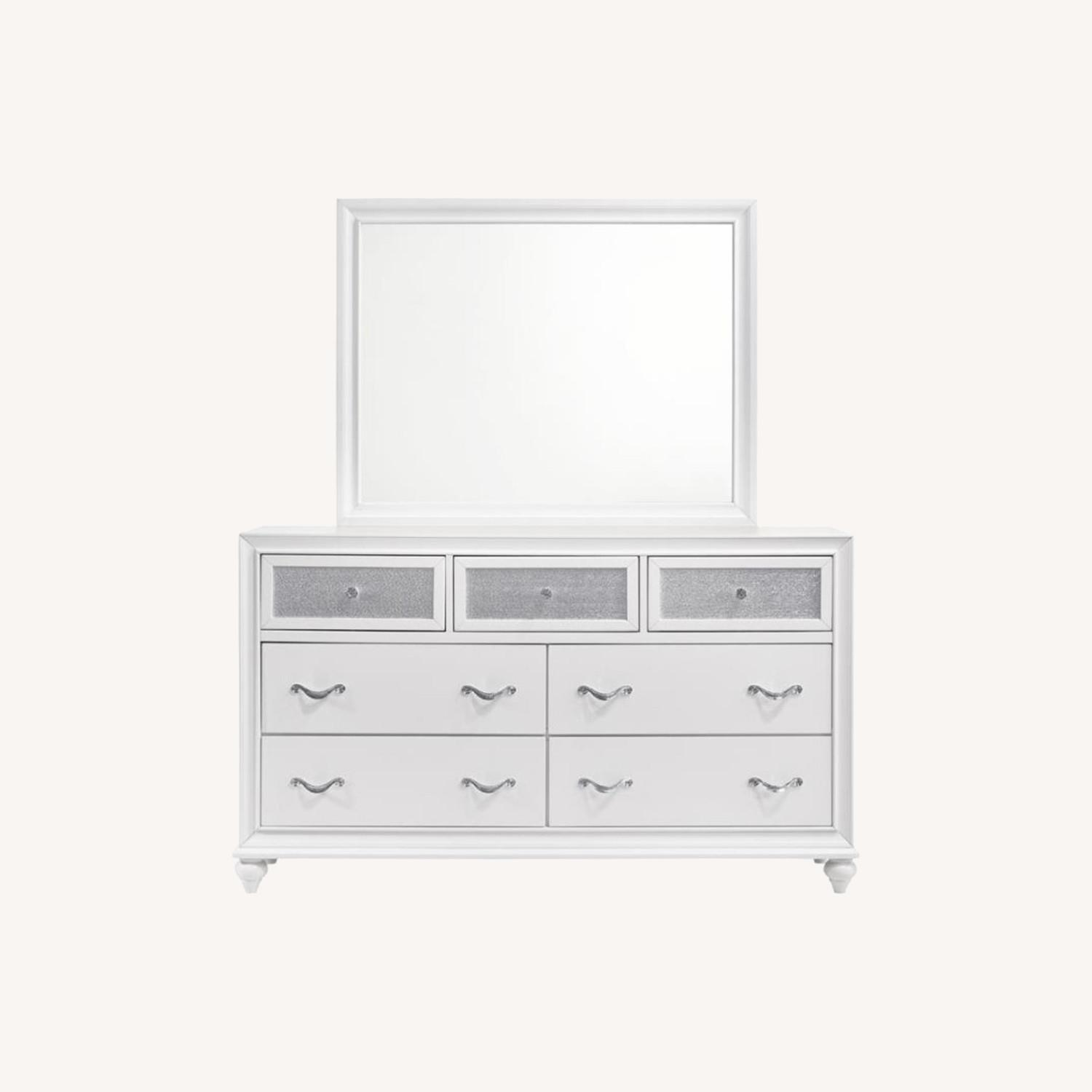 Mirror Crafted In White Wood Finish - image-4
