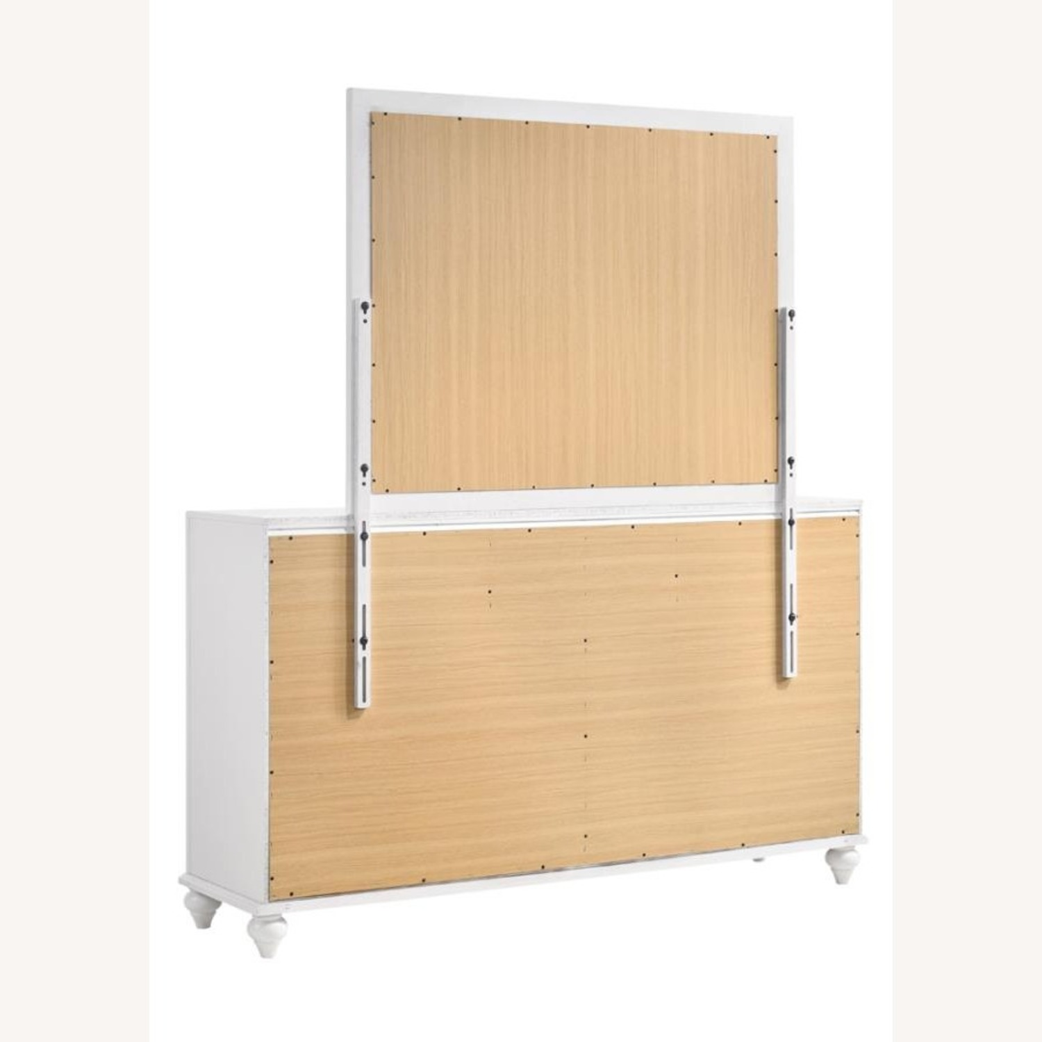 Mirror Crafted In White Wood Finish - image-2