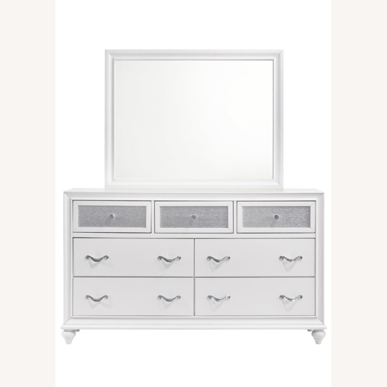Mirror Crafted In White Wood Finish - image-1
