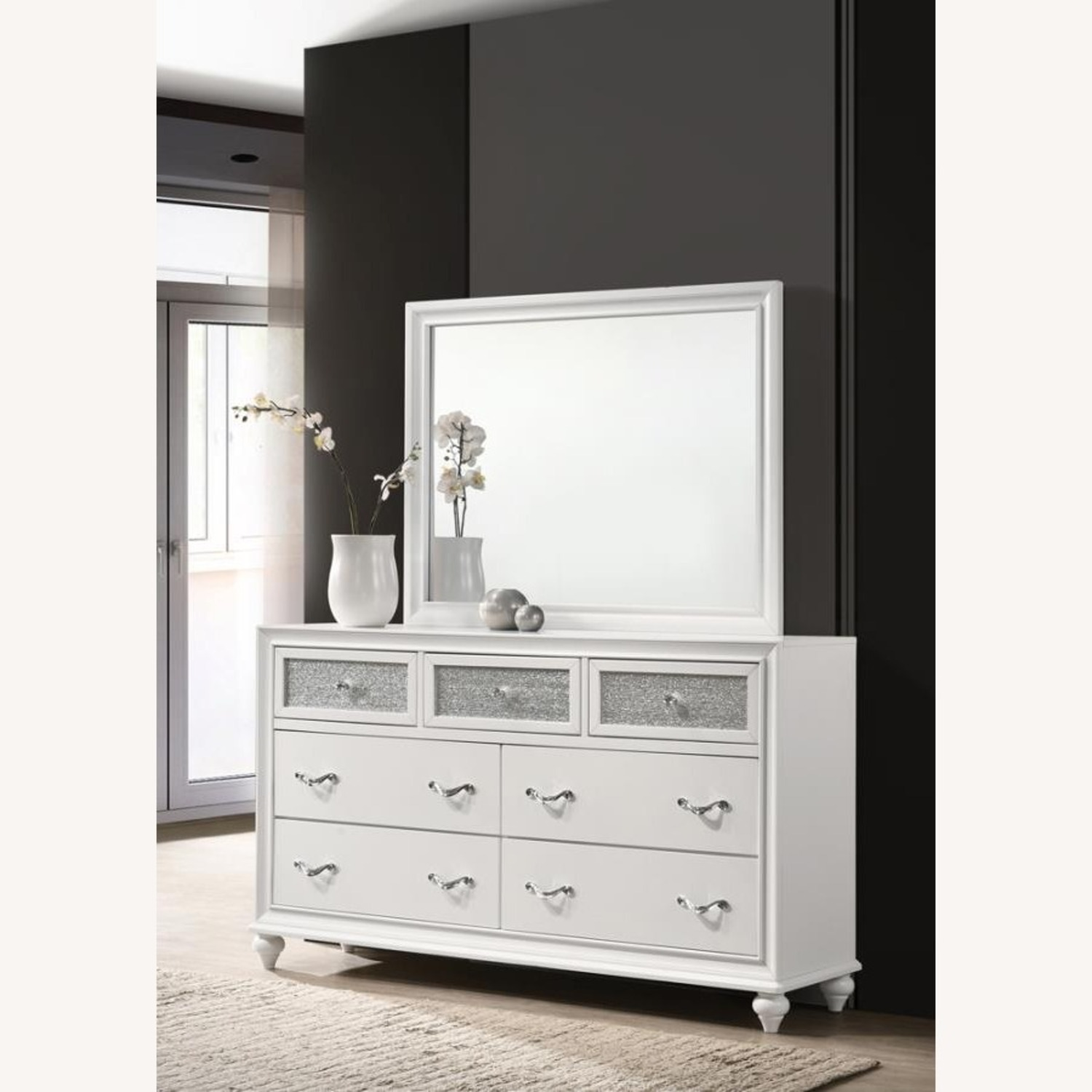 Mirror Crafted In White Wood Finish - image-3