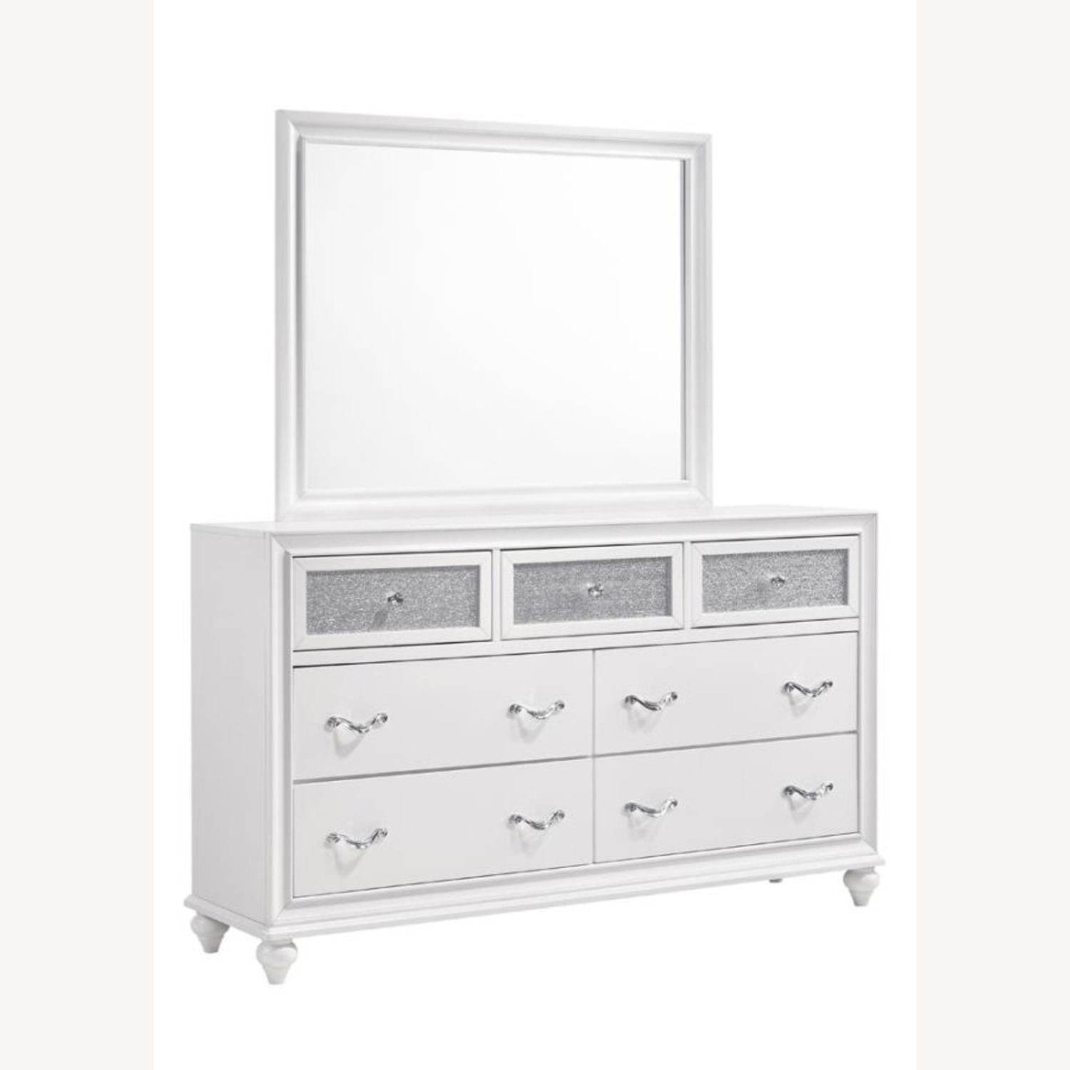 Mirror Crafted In White Wood Finish - image-0
