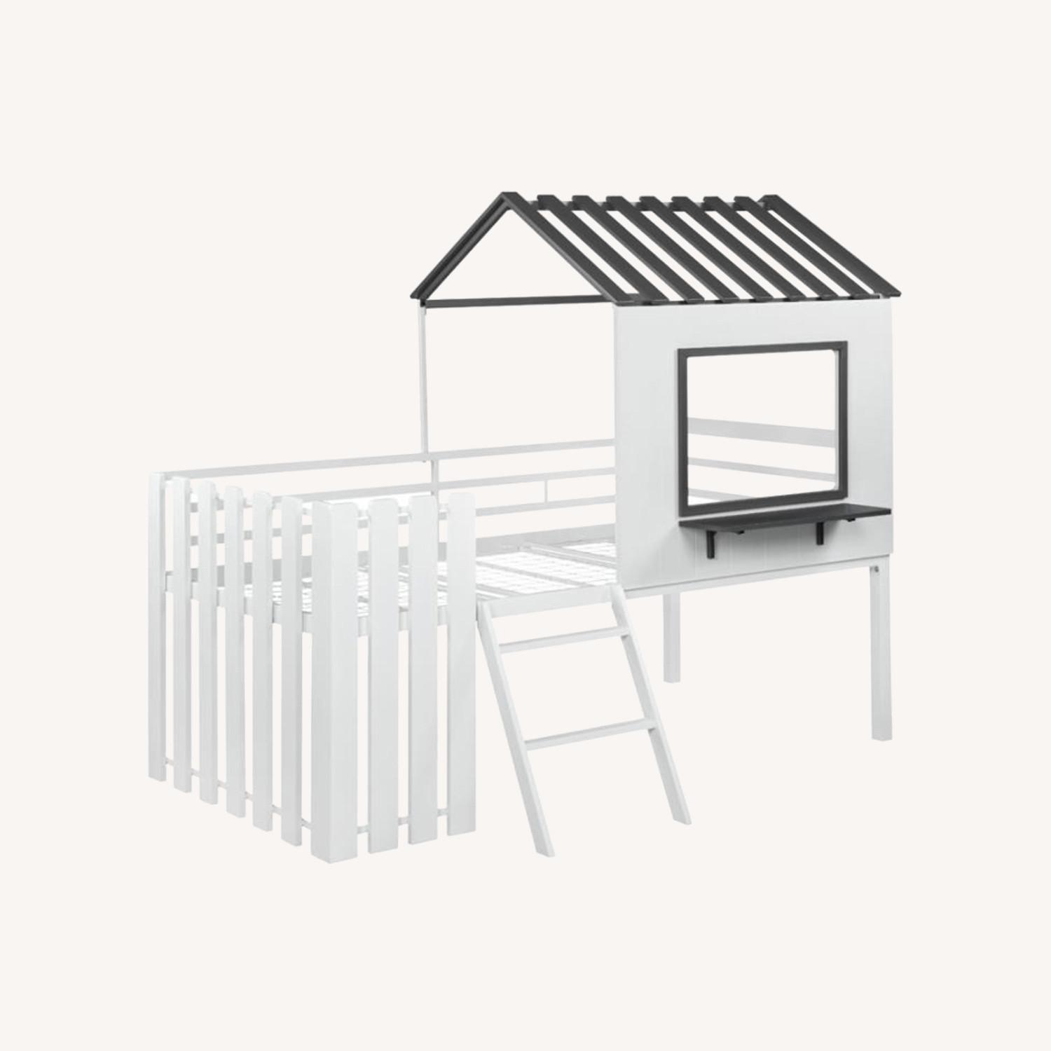 House-Themed Twin Loft Bed In Two-Tone Finish - image-6