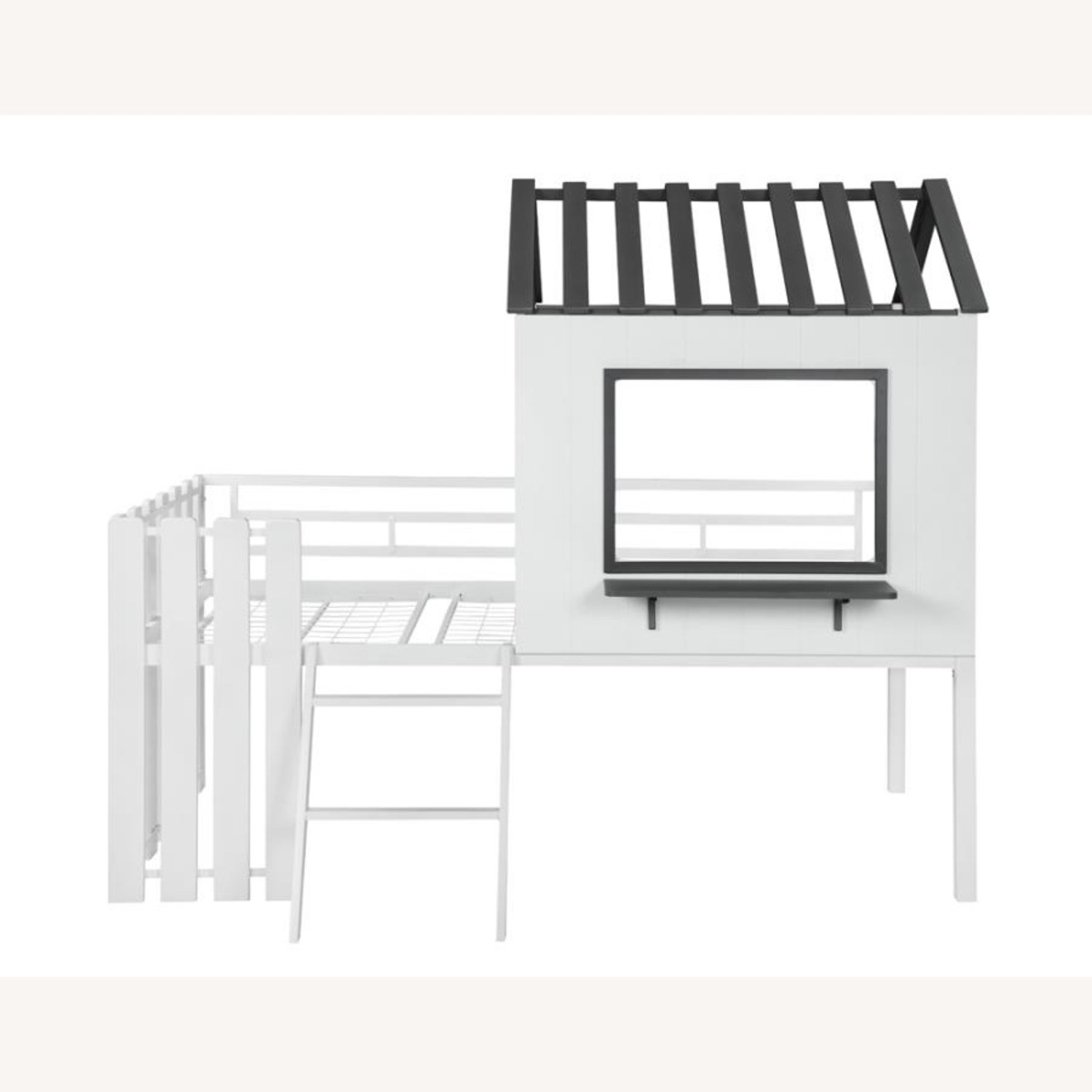 House-Themed Twin Loft Bed In Two-Tone Finish - image-1