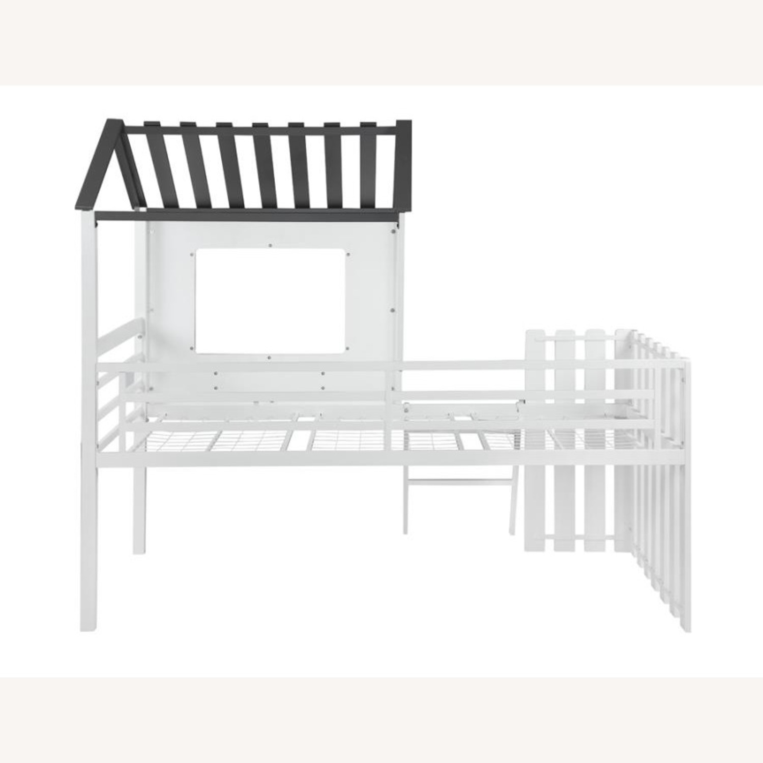 House-Themed Twin Loft Bed In Two-Tone Finish - image-3