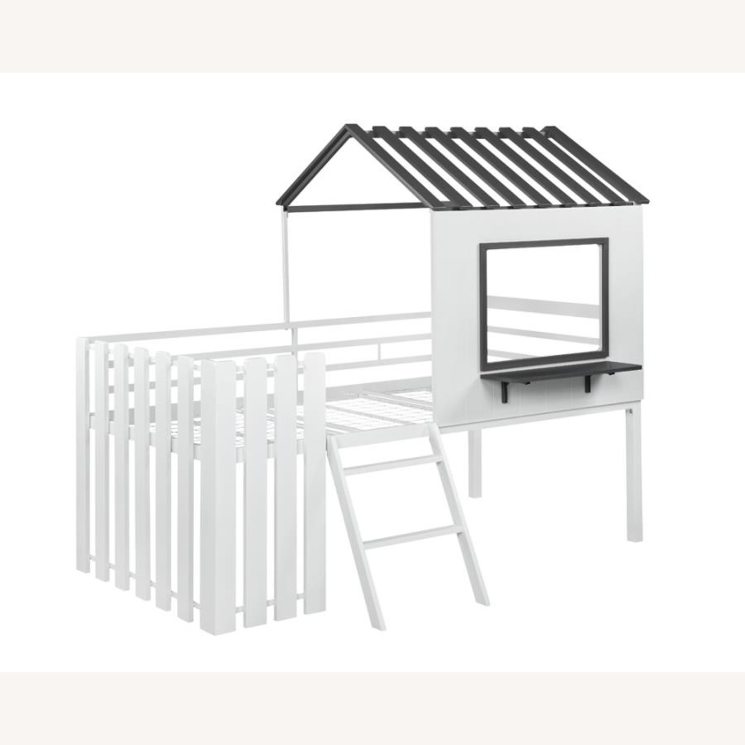 House-Themed Twin Loft Bed In Two-Tone Finish - image-0