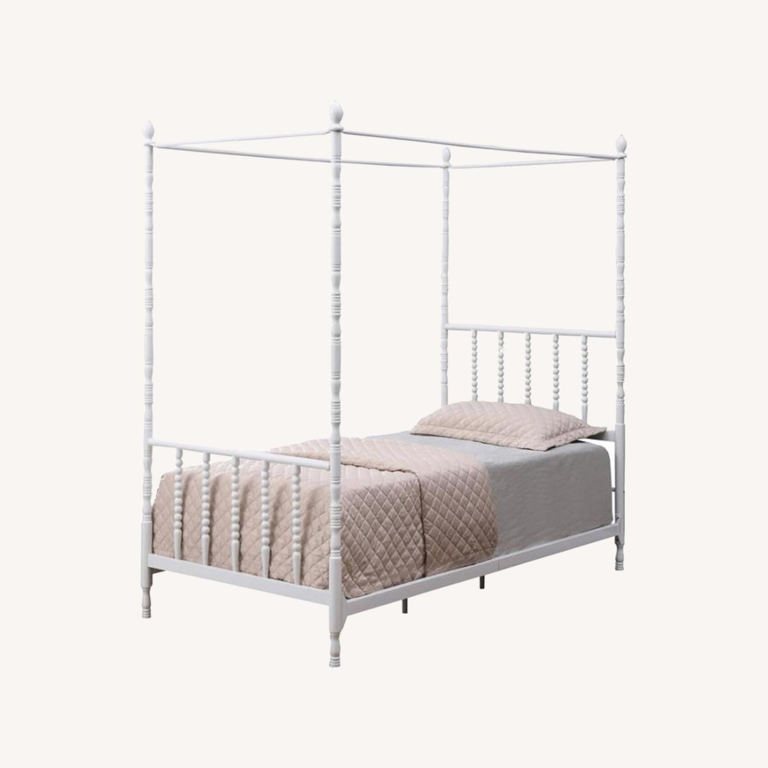 Modern Twin Canopy Bed In White Finish - image-3