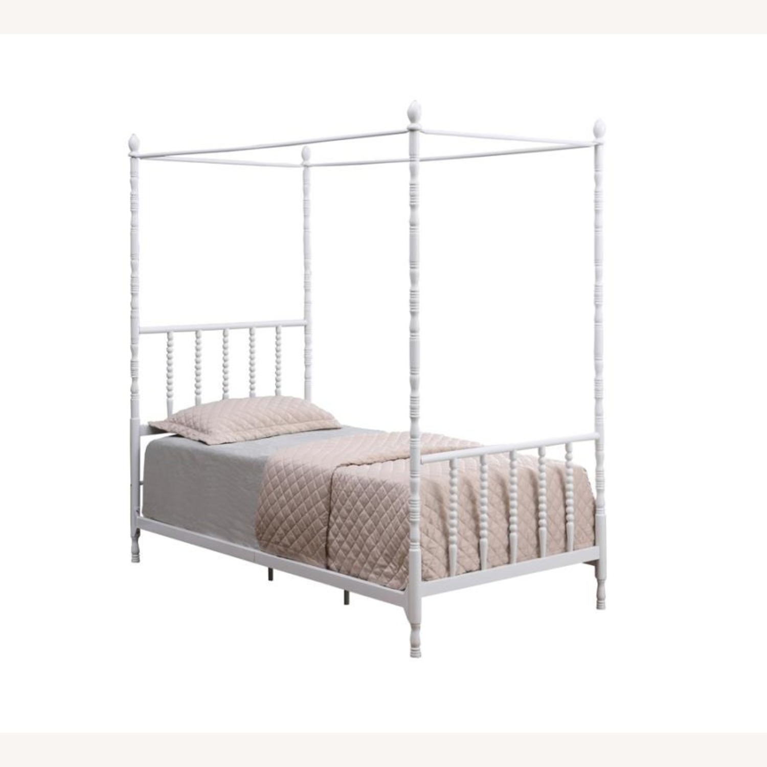 Modern Twin Canopy Bed In White Finish - image-0
