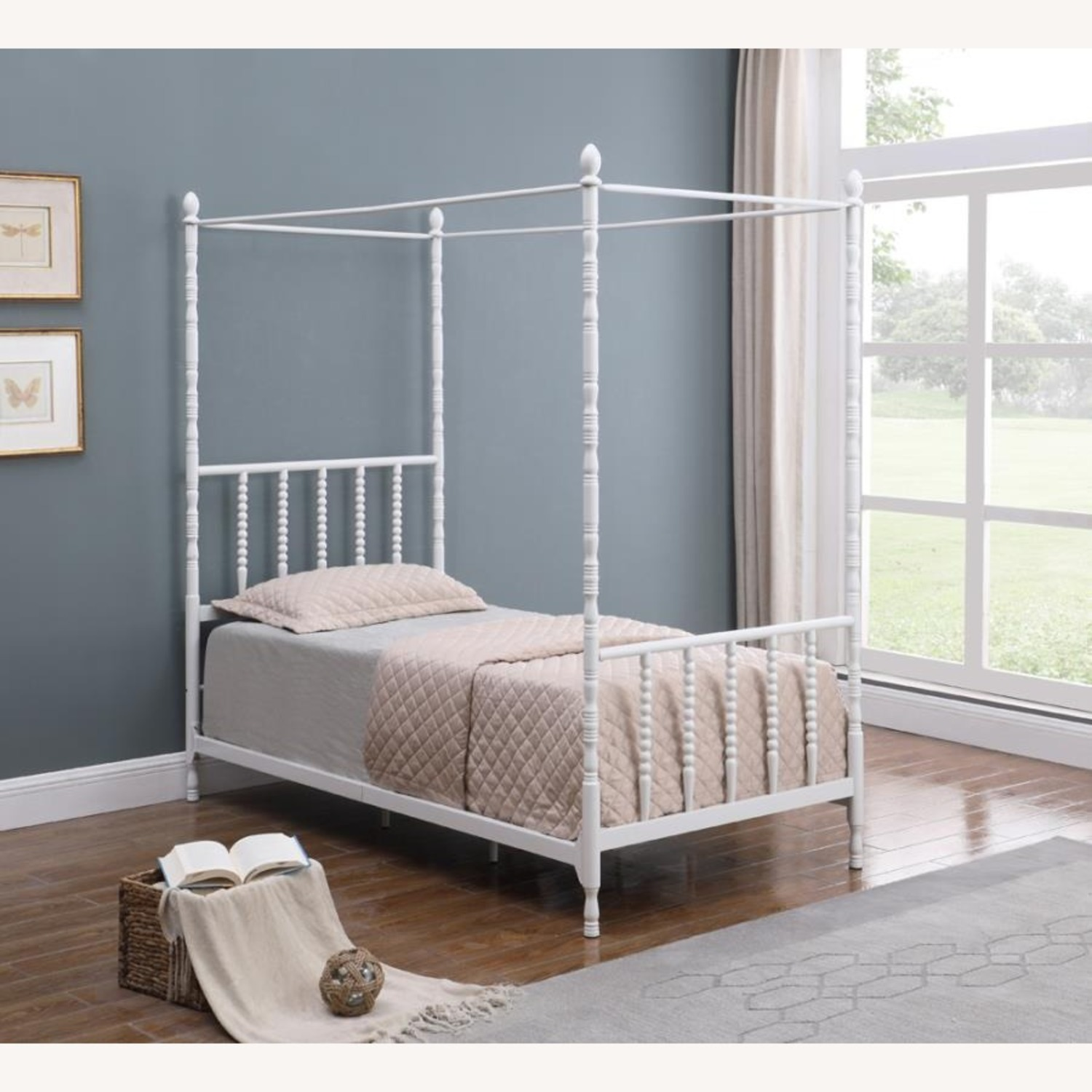 Modern Twin Canopy Bed In White Finish - image-2