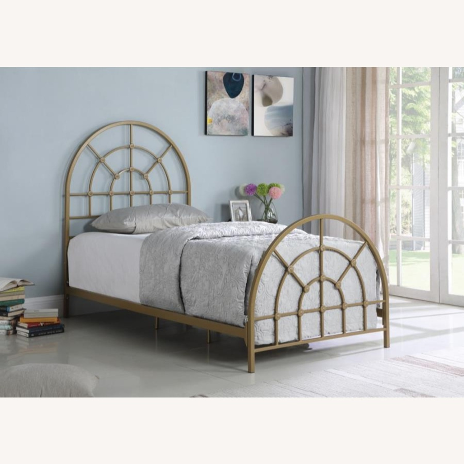 Twin Size Bed In Gold Powder Finish - image-3